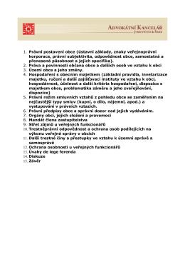1. Právní postavení obce (ústavní základy, znaky - ak