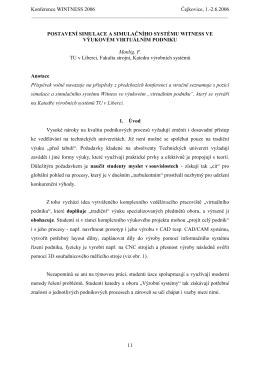 Postavení simulace a simulačního systému Witness ve