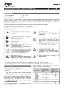 Pokyny pro provoz a údržbu baterií řady Hawker® XFCTM