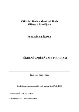 Školní vzdělávací program - Základní škola a Mateřská škola Olšany