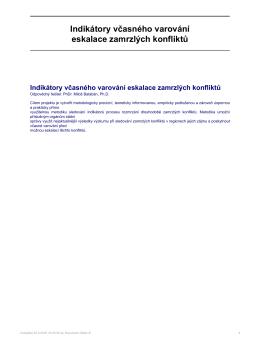 OMEGA - Indikátory včasného varování eskalace zamrzlých konfliktů