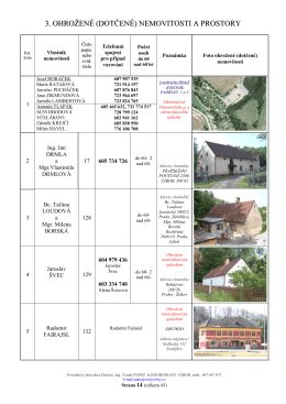 3. ohrožené (dotčené) nemovitosti a prostory