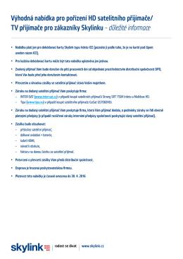 Výhodná nabídka pro pořízení HD satelitního přijímače/ TV