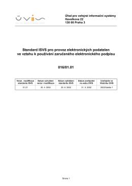 Standard ISVS pro provoz elektronických podatelen ve vztahu k