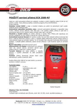 POUŽITÝ servisní přístroj ECK 2500-N7