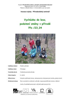 Vycházka do lesa, podzimní změny v přírodě Přs /23,24