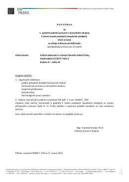 P O Z V Á N K A na 1. společné jednání pracovní a - SNOP