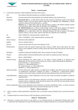 Všeobecné obchodní podmínky pro smlouvy o dílo a pro dodávky