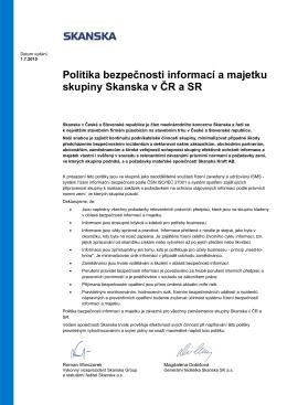 Politika bezpečnosti informací a majetku skupiny Skanska v ČR a SR
