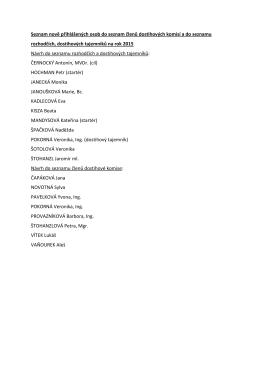 Seznam nově přihlášených osob do seznam členů