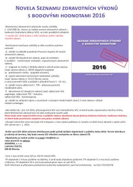 Novela Seznamu zdravotních výkonů s bodovými hodnotami 2016
