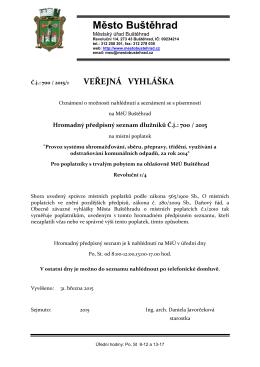 Veřejná vyhláška - hromadný předpisný seznam dlužníků