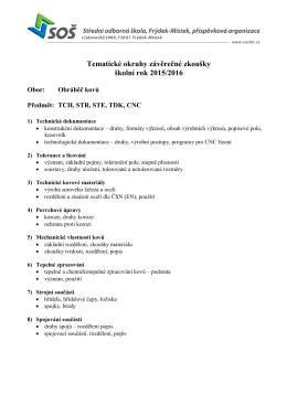 Tematické okruhy pro ZZ oboru Obráběč kovů ()