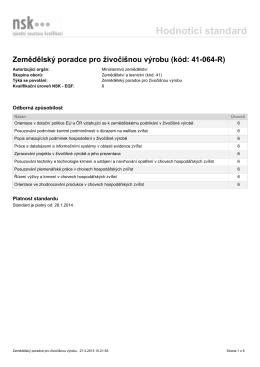 Zemědělský poradce pro živočišnou výrobu (kód