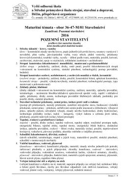 Maturitní komise - obor STAVEBNICTVÍ