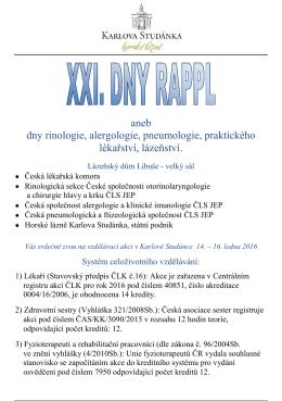 rappl 2016 - Česká pneumologická a ftizeologická společnost ČLS