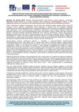 Uzavření Regionální sektorové dohody pro Moravskoslezský kraj