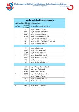 Vedoucí studijních skupin (vyšší odborná škola)