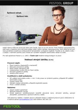 Vedoucí strojní údržby (ž/m)