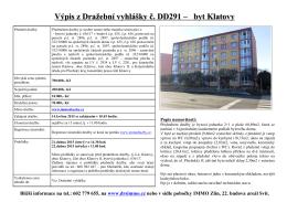 Výpis z Dražební vyhlášky č. DD291 - byt Klatovy