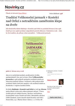 Netradiční jarmark - Sdružený Klub Rabštejn Kostelec nad Orlicí