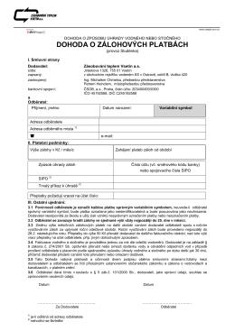 dohoda o zálohových platbách - Zásobování teplem Vsetín as
