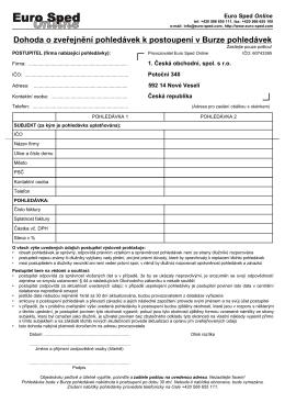Dohoda o zveřejnění pohledávek k postoupení v Burze - Euro-sped