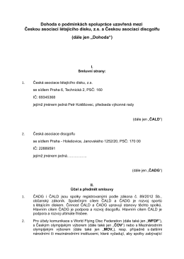 Dohoda o podmínkách spolupráce uzavřená mezi Českou asociací