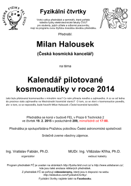 Milan Halousek Kalendář pilotované kosmonautiky v