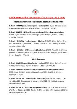 CENÍK MAKARSKÁ HOTEL RIVIJERA LÉTO 2016 (12. - 21. 8