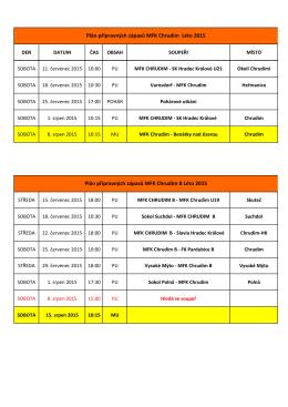 Plán přípravných zápasů MFK Chrudim Léto 2015 Plán