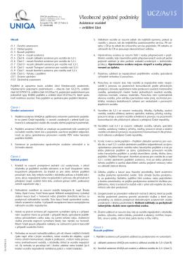 Všeobecné pojistné podmínky UCZ/As/15 - Asistence vozidel