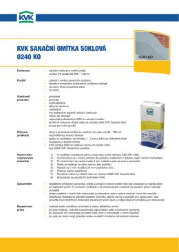KVK sanační omítKa soKloVá 0240 Ko
