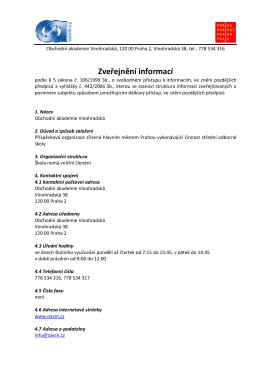 Zveřejnění informací podle zákona č. 106/1999 Sb., o svobodném