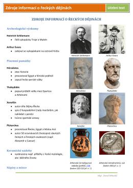 Zdroje informací o řeckých dějinách Učební text
