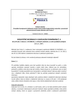 DODATEČNÉ INFORMACE K ZADÁVACÍM PODMÍNKÁM Č. 6