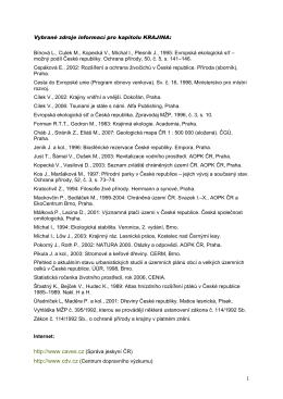 Vybrané zdroje informací pro kapitolu KRAJINA