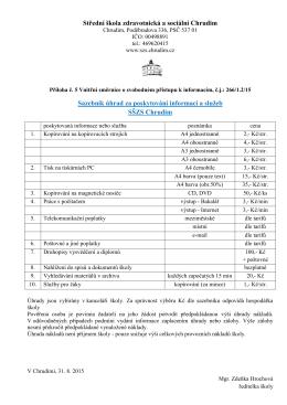 Střední škola zdravotnická a sociální Chrudim Sazebník úhrad za