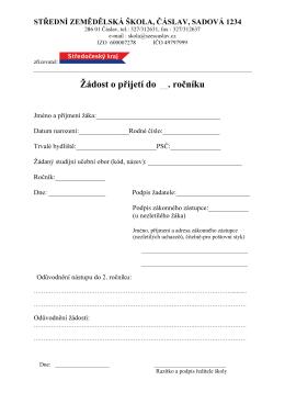 Žádost o přijetí do . ročníku