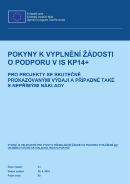 Pokyny k vyplnění žádosti v IS KP14+ vydání A1