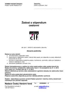 Žádost o stipendium cestovní - Nadace Český literární fond