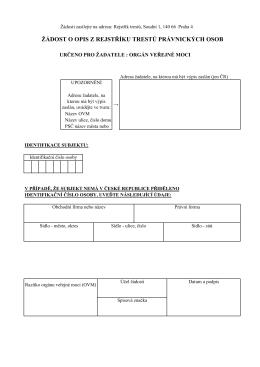 Žádost o opis z evidence PO pro OVM