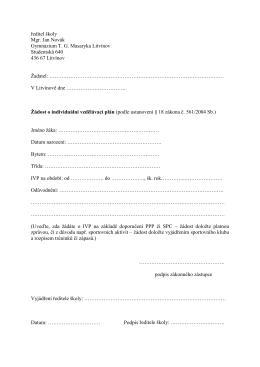 Žádost o IVP - Gymnázium TG Masaryka, Litvínov