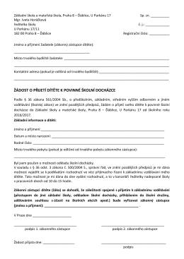Žádost o přijetí do 1. ročníku 2016-2017