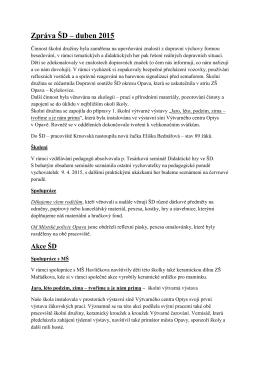 Duben ve školní družině 14-15 - Základní škola Opava, Mařádkova 15