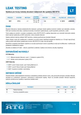 Sylabus kurzu LT podle kvalifikačního systému ISO 9712