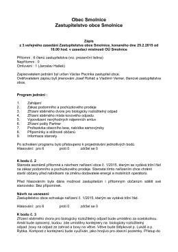 Zápis z veřejného zasedání zastupitelstva obce Smolnice 25.2.2015