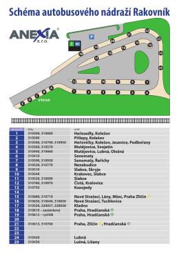 Schéma autobusového nádraží Rakovník