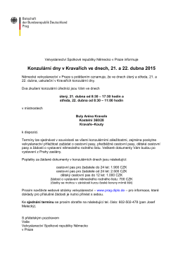 Velvyslanectví Spolkové republiky Nemecko v Praze informuje