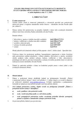 Zásady pro poskytování účelových dotací z - Poruba